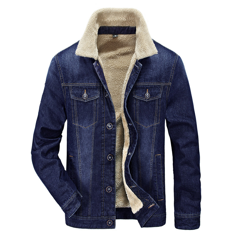brand new 93644 a7c20 Men's Plus Cotton Warm Fur Collar Sherpa Lined Denim Jacket ...