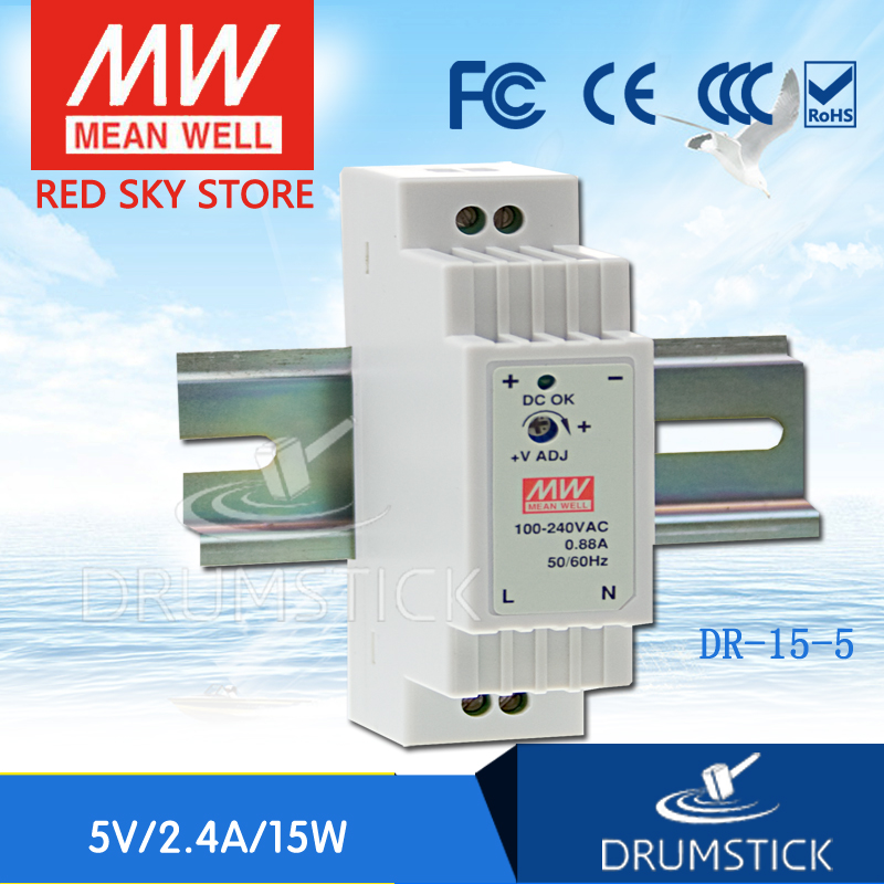 MEAN WELL DR-15-5 5V 2.4A meanwell DR-15 12W Single Output Industrial DIN Rail Power Supply original meanwell dr 15 5 12w 5v 2 4a industrial din rail mounted power supply ul tuv cb emc ce
