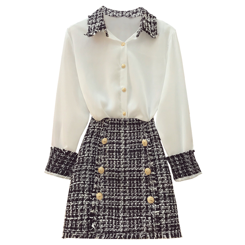 Women's Sets New A Skirts line Blouses Female Block Long Turn White Tweeds Down Chiffon Suits Collar Sleeve Autumn Fashion Color 1E4t4