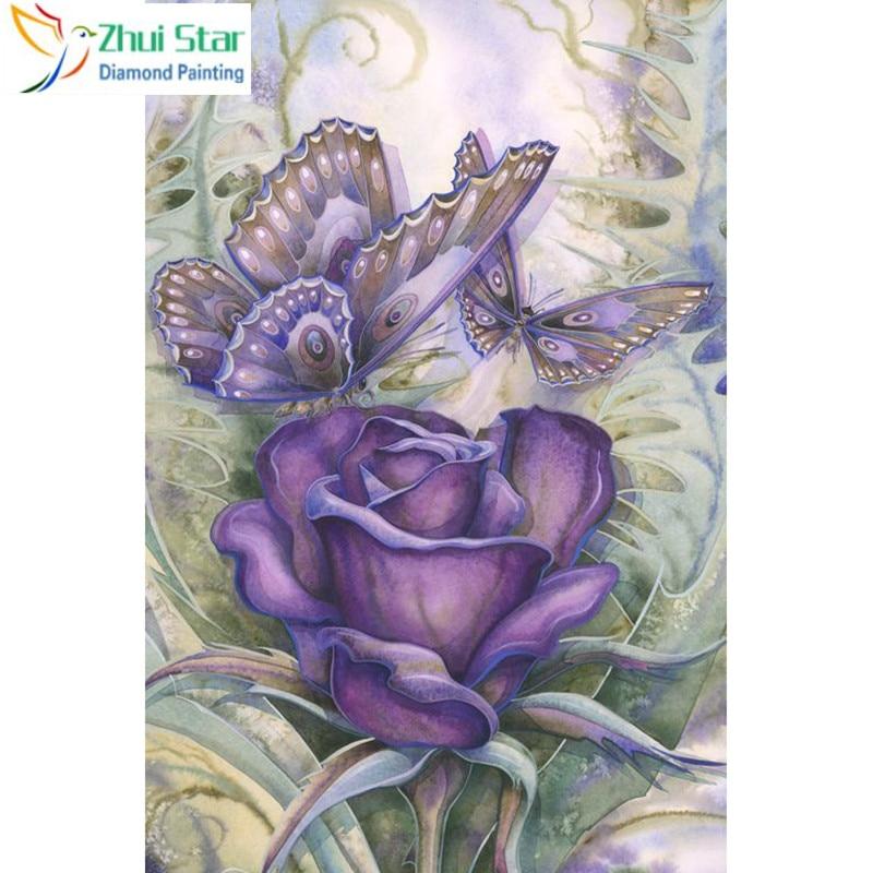 "Full Square 5D DIY Diamond Painting ""purple flower"