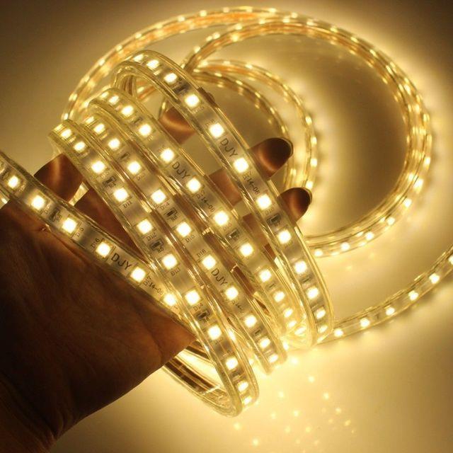 1M/2M/3M/5M/6M/8M/10M/15M/20M SMD 5050 AC220V LED Strip Flexible Light 60leds/m Waterproof Led Tape LED Light With Power Plug