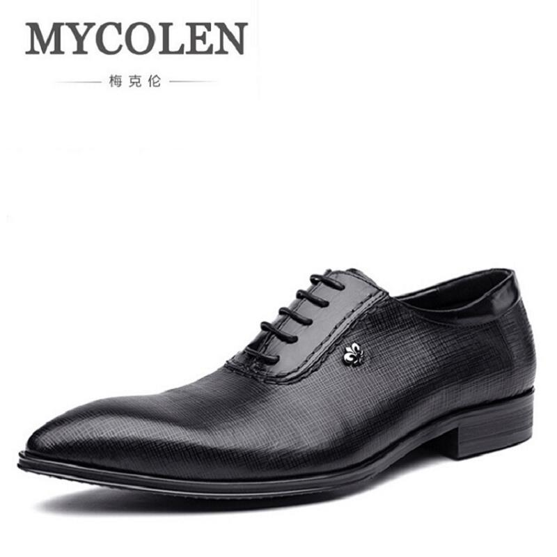 MYCOLEN 2017 Men Dress Shoes Italian Wedding Oxford Shoes Men Elegant Suit Shoes Leather Flats Shoes Zapatos Hombre hot sale mens italian style flat shoes genuine leather handmade men casual flats top quality oxford shoes men leather shoes