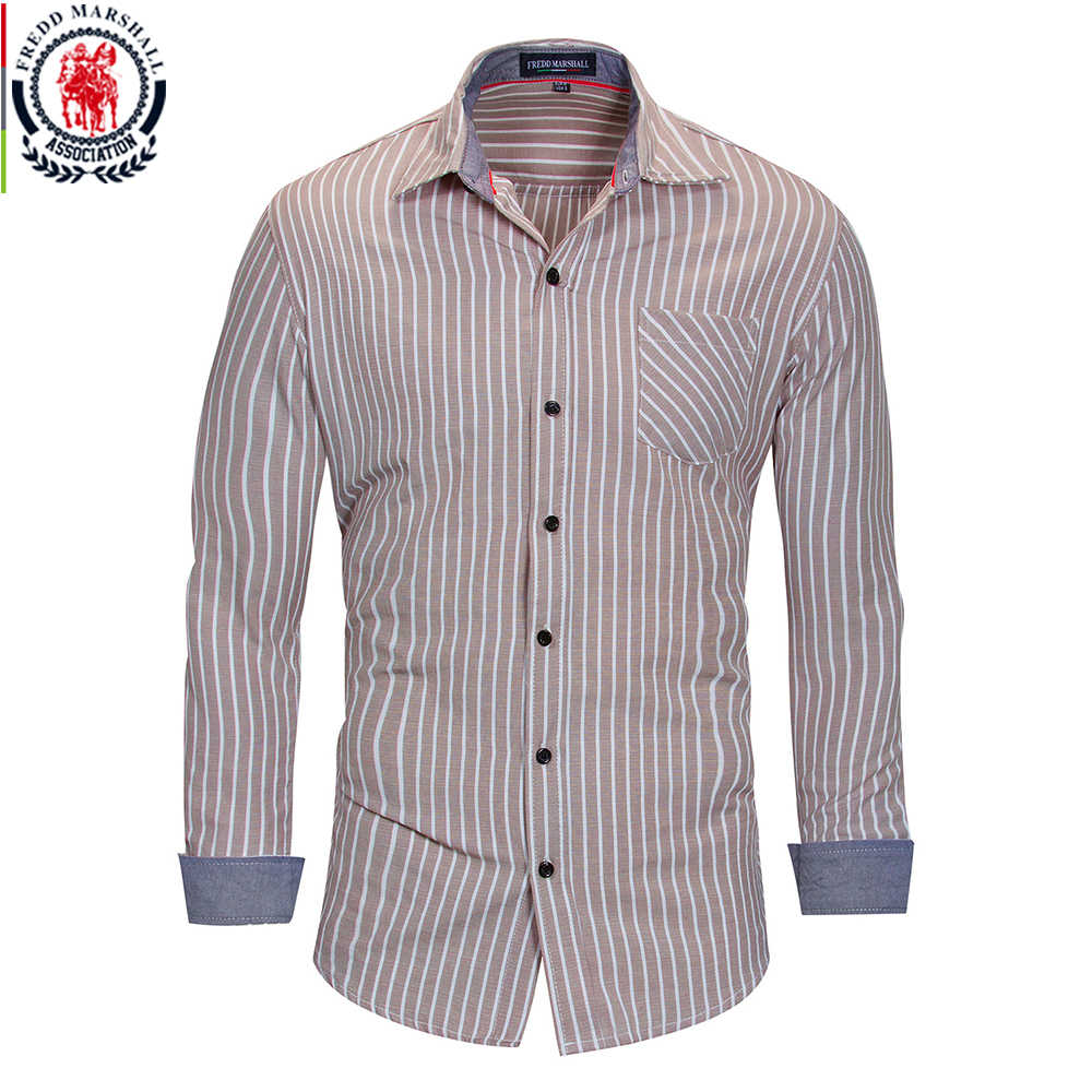 Freddマーシャル2018夏のファッションにストライプシャツ男性カジュアル長袖社会ビジネスドレスシャツ男性綿服FM166