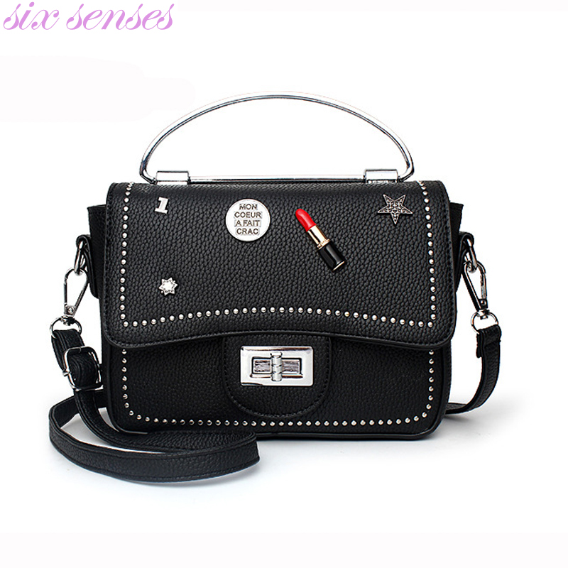 Six senses New Women PU Leather Handbags Vintage lady casual Bags small shoulder bag Fashion messenger Bags Tote bolsas XD4024