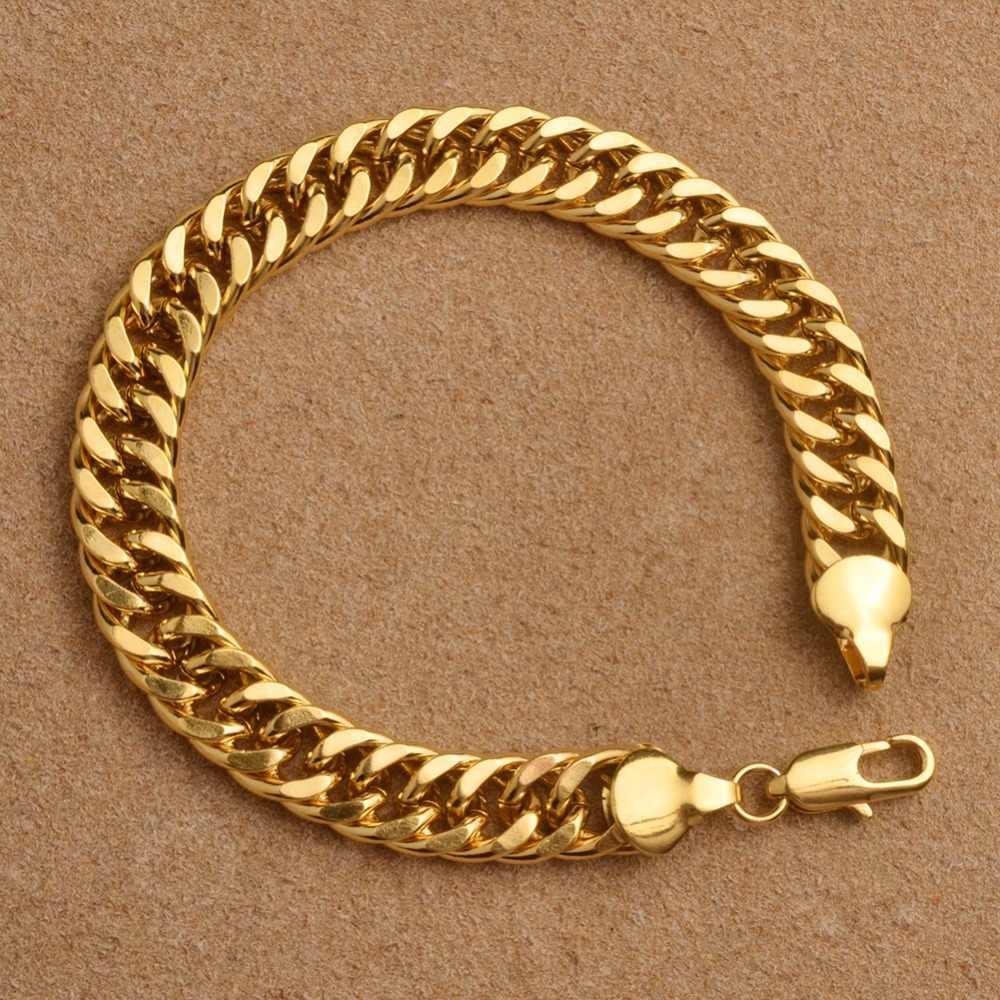 Anniyo grube kuba bransoletki dla mężczyzn złoty kolor Link bransoletka afryki Arab bliski wschód biżuteria męskie prezenty ślubne #065102