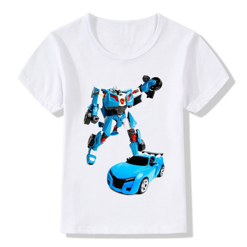 2019 Children Tobot Print Funny T-shirt Kids Summer Tops Boys/Girls Short Sleeve Clothes Casual Baby T Shirt,ooo2179