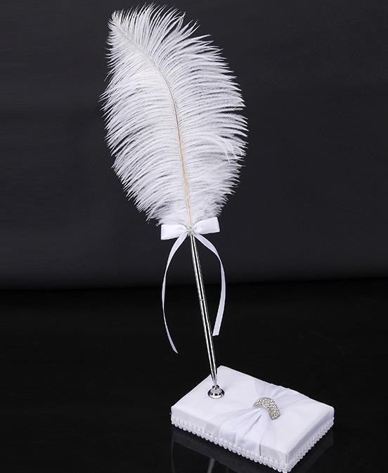 Antique ivory ostrich Feather Wedding Pen cocktail party banquet crystal rhinestone bowknot sign pens festive event decorations