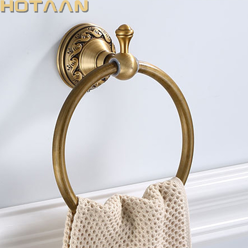 Bathroom Towel Holder, Solid Aluminium Wall Mounted Round Antique Brass Towel Ring Towel Holder Classic Bathroom Accessories