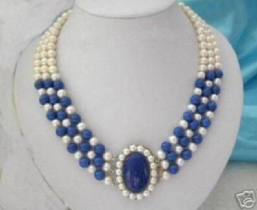 Gr56 gratuite 3 linhas 7 - 8 mm perles blanches collier lapis