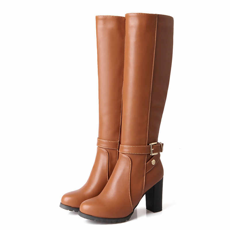 MORAZORA Hot venda nova moda soft pu de couro de salto alto joelho botas de cano alto fivela barcos mulheres motocicleta botas de outono inverno sapatos