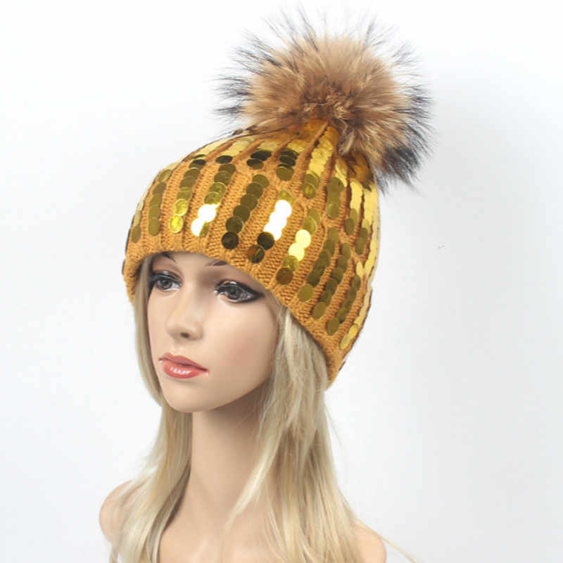 1d8bebd670c040 ... Real Raccoon Fur Pompom Bling Women Warm Hat Fashion Sequin Winter Hat  With Fur Pom Pom ...