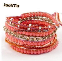 free shipping multi color pink coral stone wrap bracelet for woman