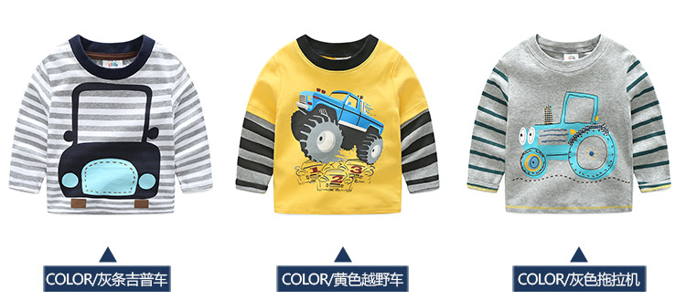 2018 Spring Autumn For 2-9 10 Years Children Cotton Striped Patchwork Cartoon Car Bus Truck Baby Kids Boys Long Sleeve T Shirts (11)