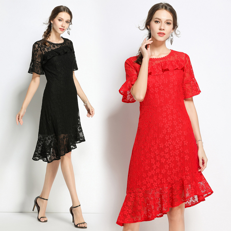 New 2018 Summer FASHION Female Lace Dress flare Sleeve asymmetrical Dress elegant vestidos plus size tunics party dress S-XXXXXL