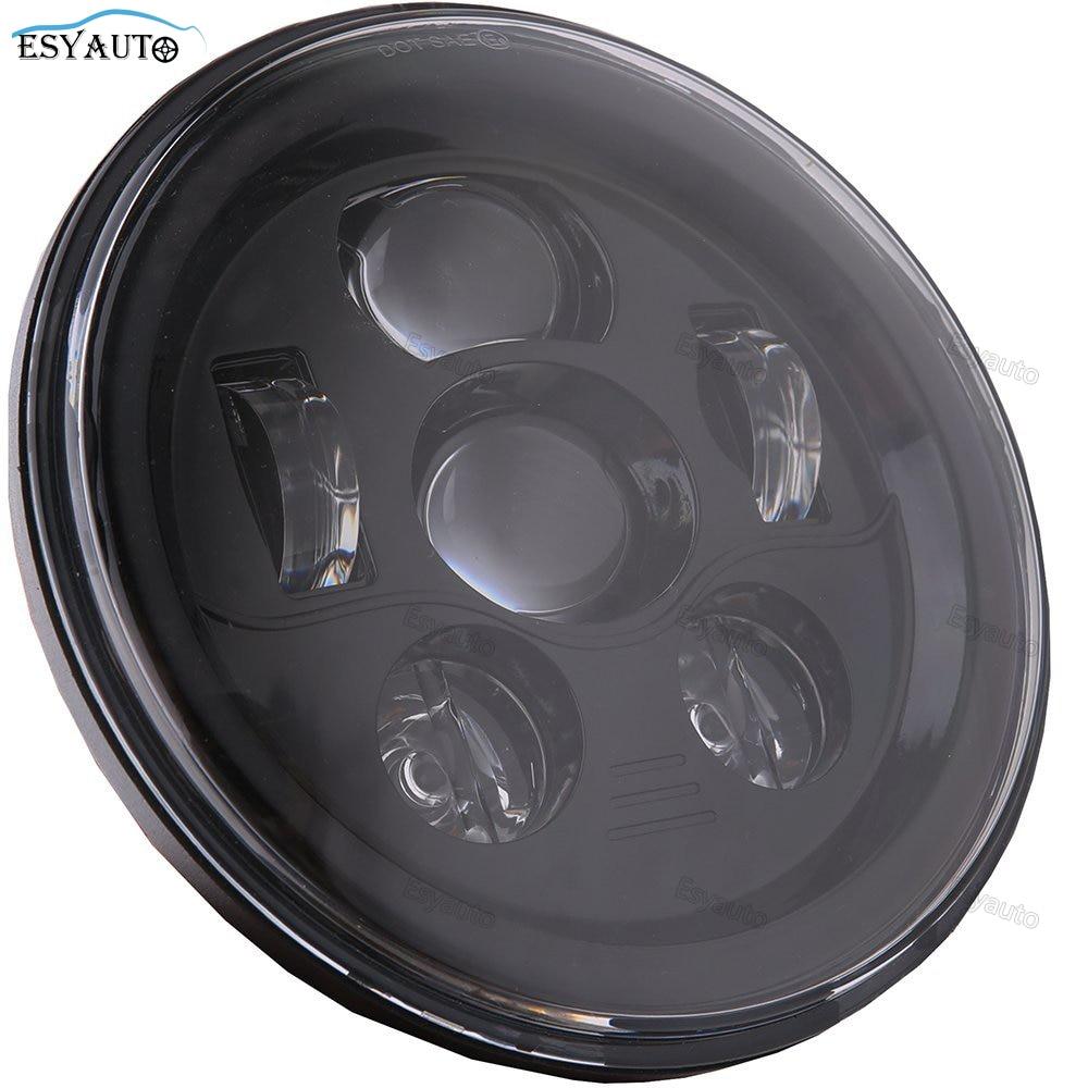 где купить 7 Inch Round LED Moto Headlamp 45W Daymaker Projector Headlight H4 H13 for Harley Davidson for Jeep Wrangler Auto Parts дешево
