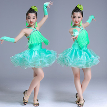 цены Latin Dance Dress Children Costumes Girls Tassel Sequins Competition Clothes Ballroom Waltz Cha Cha Tango Salsa Dance Dresses