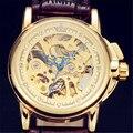 GANADOR Relojes de Lujo de Las Mujeres Rhinestone Fecha Dial Mecánico Automático Esquelético de Oro Caja de Acero Correa de Cuero Marrón Reloj