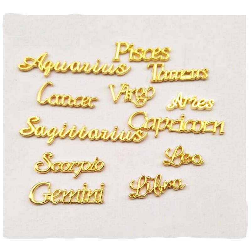 12pcs Horoscope Alphabet Resin Jewelry Decor Craft Accessories Cabochon Setting Handmade Gold Constellations Charms Stuff