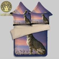 Медуза 3D животных печати постельное белье из хлопка костюм для мальчиков, футболка + штаны король, королева размер Leopard/птицы/Тигр постельно...