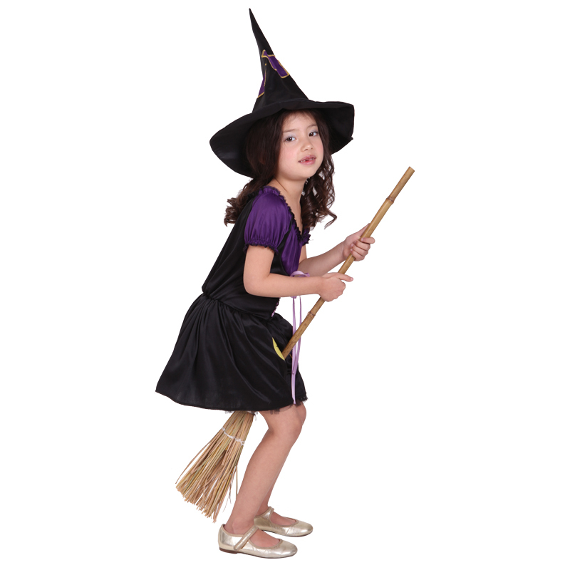 Beautiful Girls witch Halloween Costume with hat fairy Fancy Dress ...