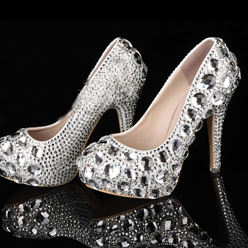 c455f56ab9e luxury silver sheer crystals jeweled high heels bridal shoes wedding shoes  Graduation Ceremony Shoes Homecoming Party Shoes-in Women s Pumps from  Shoes on ...