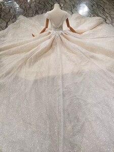 Image 2 - Ls11293 vestido de casamento especial cristal boné manga ilusão o pescoço feito à mão vestido de casamento ver através aberto voltar vistido