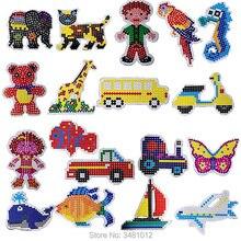 2ピース/バッグhamaビーズ5ミリメートルdiyペグボードジグソーパズルperlerビーズパズルpegboardsクラフトペグボード子供知育玩具用子供