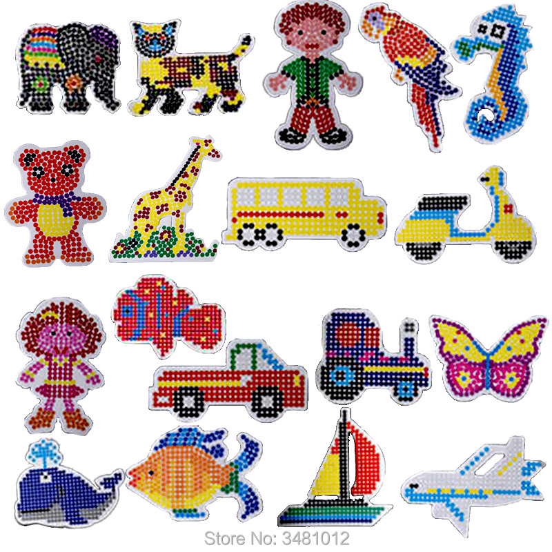 2pcs/bag Hama Beads 5mm DIY Pegboard Jigsaw Perler Beads Puzzles Pegboards Craft Peg Boards Kids Educational Toys for Children-in Puzzles from Toys & Hobbies