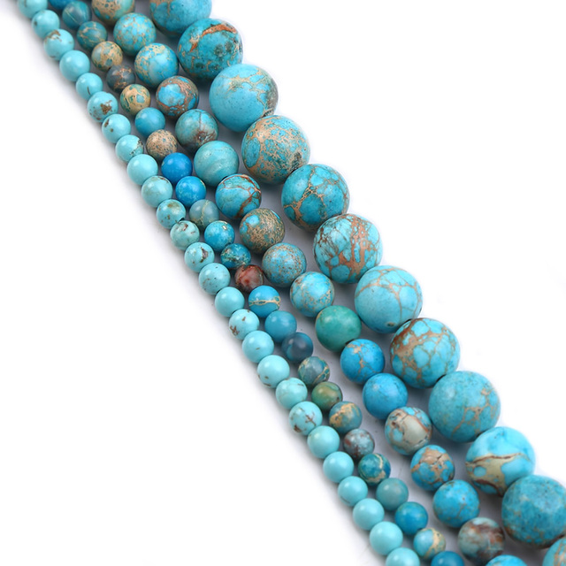 Bulk Wholesale Turquoises Sea Sediment Malachite Natural Stone Beads Loose Spacer Beads for Jewelry Making 4-12mm DIY Bracelet