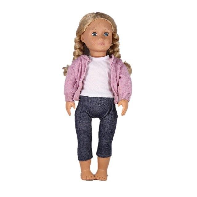 Puppe Kleidung Strickmantel Weiß T shirt Jean Hosen Sets American ...