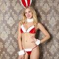 Meninas Sexy Biquíni Trajes Profunda V Sutiãs + G Corda + Orelhas de coelho Conjunto de Lingerie Exótico Cosplay Roupa para o Natal presente