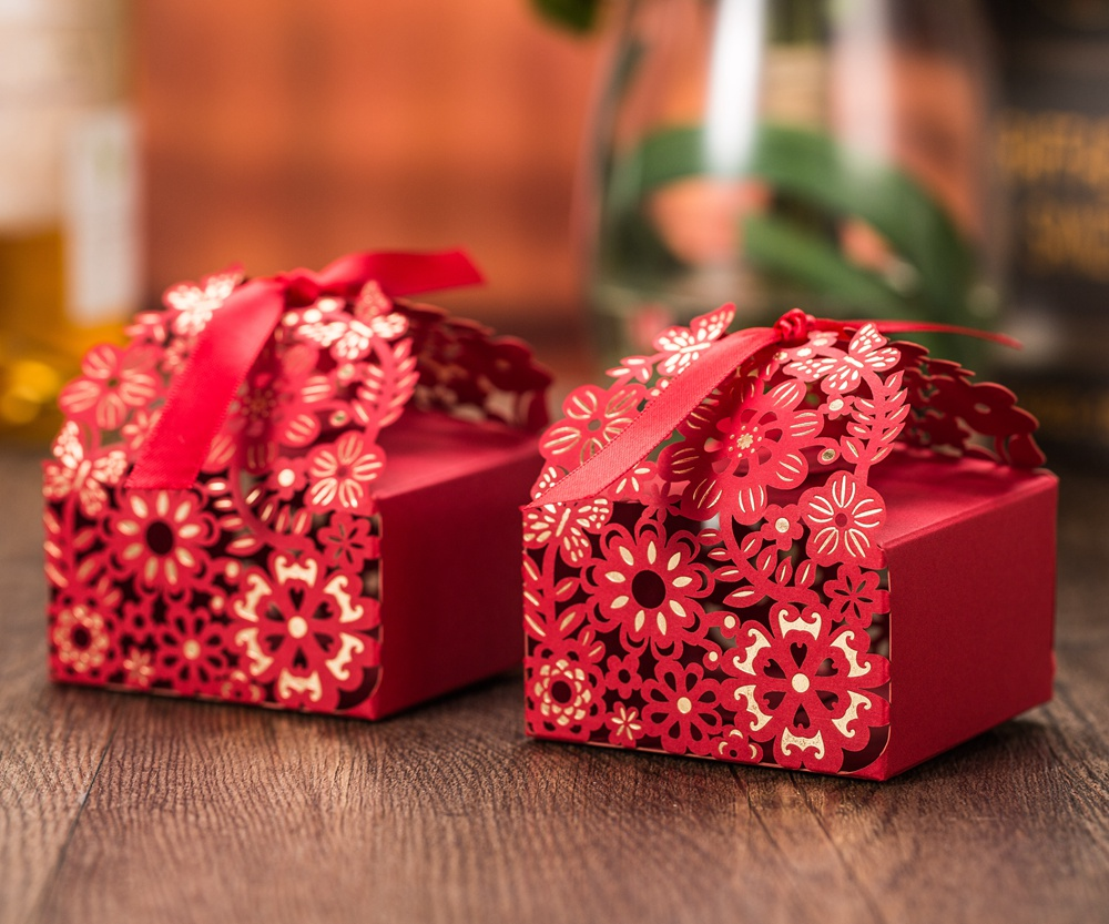 Red Wedding Gift Bags : /lot, Red with Gold Flower Laser Design Candy Box, Wedding Gift Bags ...