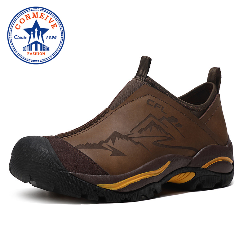 Professional Waterproof Trekking Mountain Shoes Mens Outdoor Hunting Tourism Hiking Shoes Genuine Leather Climbing Men Sneakers-in Hiking Shoes from Sports & Entertainment