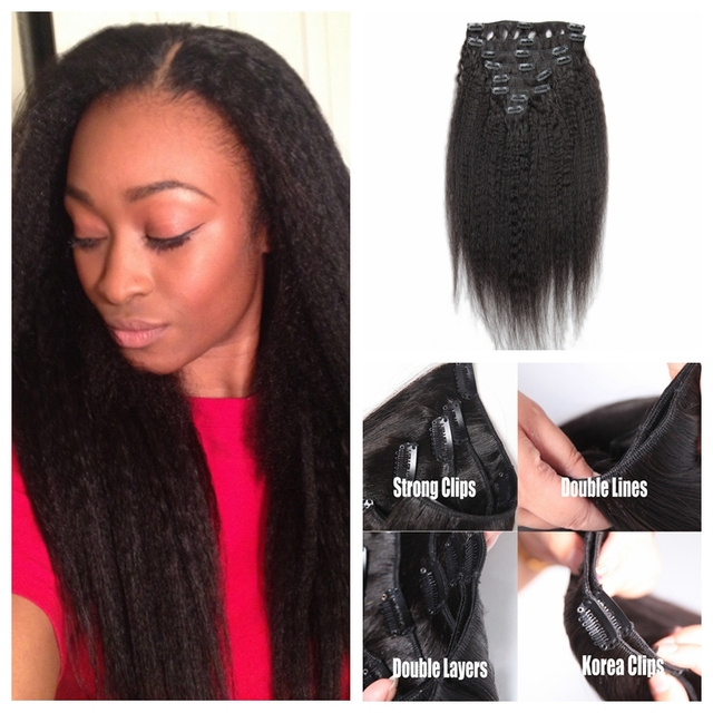 Light Coarse Yaki Clip In Human Hair Extensions Cheap Unprocessed
