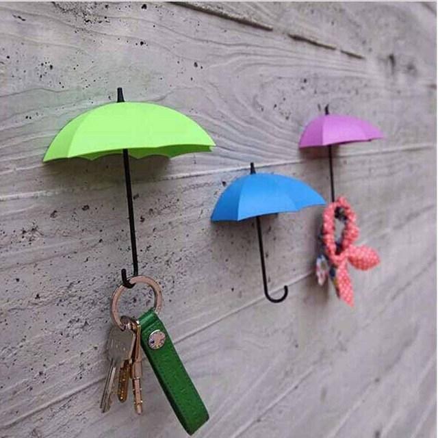 kitchen towel hooks decorative island light fixture 3pcs set umbrella storage rack key robe hall wall hook bathroom door shelves hanger