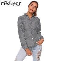 Meaneor Women Striped Button Blouse Shirt Waist Band Spring Autumn Long Sleeve Slim Turn Down Collar
