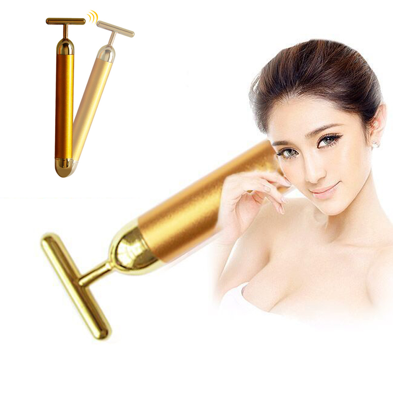 24K Waterproof Slimming Electric Beauty Bar Golden Face Massage - Penjagaan kesihatan - Foto 2