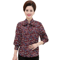 Middle Aged Women Vintage Shirts Mother Flower Print Tops Womens Bow Tie Collar Blouses Yellow Blue