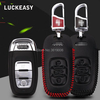 LUCKEASY For Audi Series Premium Leather 3 Buttons Remote Key Holder Fob Case Cover Car Styling