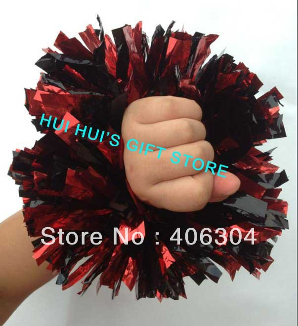 Free shipping,metallic wrist pompom with elastic fan cheer leading pom poms approx 55g red black green blue gold silver ballroom
