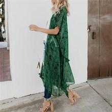 Summer Womens Casual Chiffon Blusas Kimono Printing Green Blouses Cardigan