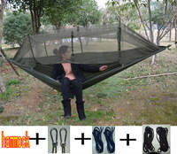 2017 Newest Fashion Handy Hammock Single Person Portable Parachute Fabric Mosquito Net Hammock For Indoor Outdoor
