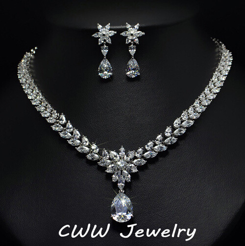 Cwwzircons Luxury Bridal Jewelry Sparkling Cubic Zirconia Necklace And Earrings Sets For Accessories T141 In From