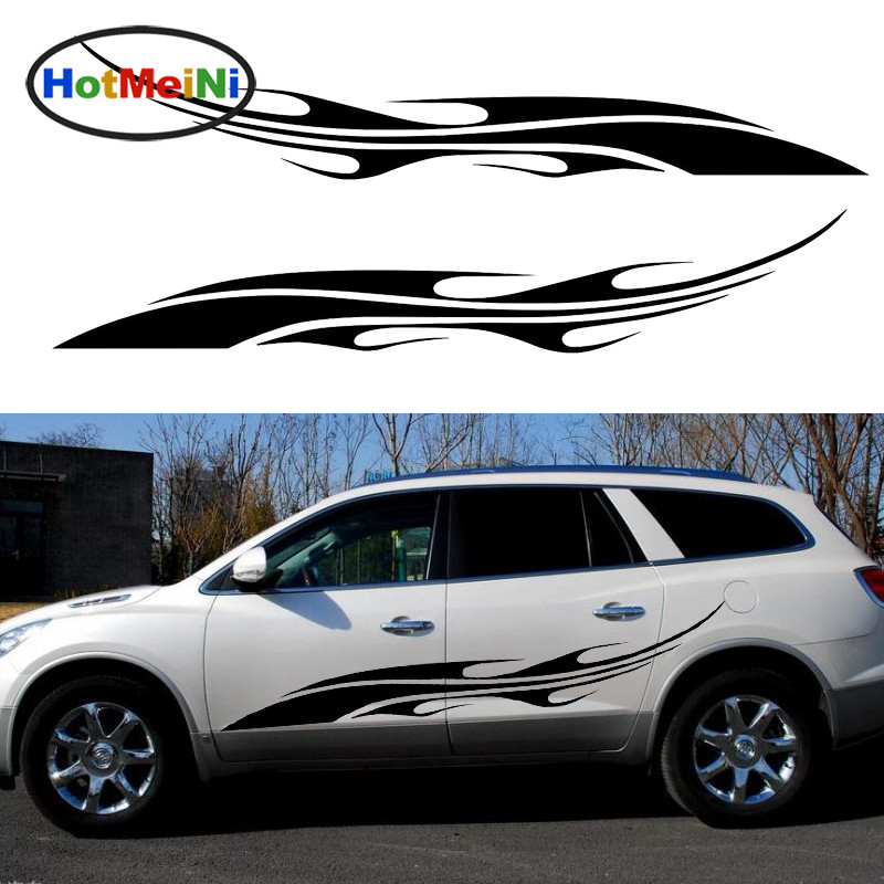 HotMeiNi 2 X Dynamic Streamlined Flames Leapt Courage Art Car Stickers for Camper Van Minicab Kayak Canoe Vinyl Decal 10 Colors