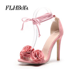 Women s Fashion Sweet Ankle Strap Ruffles Appliques Sandals Sexy Thin High  Heels Ladies Pumps Open Toe Lace-up Shoes Pink Black 07d16858b437