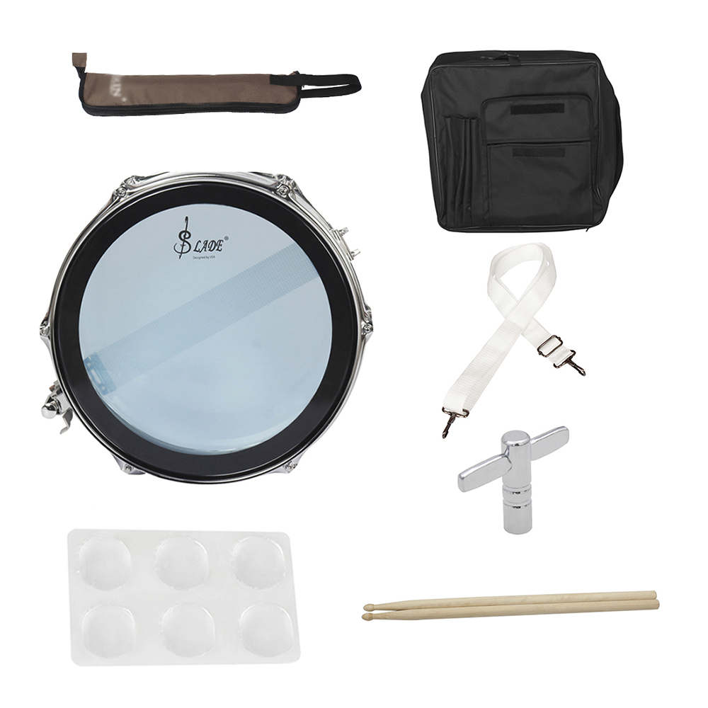buy 14 snare drum kit stainless steel body pvc drum head with drum bag strap. Black Bedroom Furniture Sets. Home Design Ideas