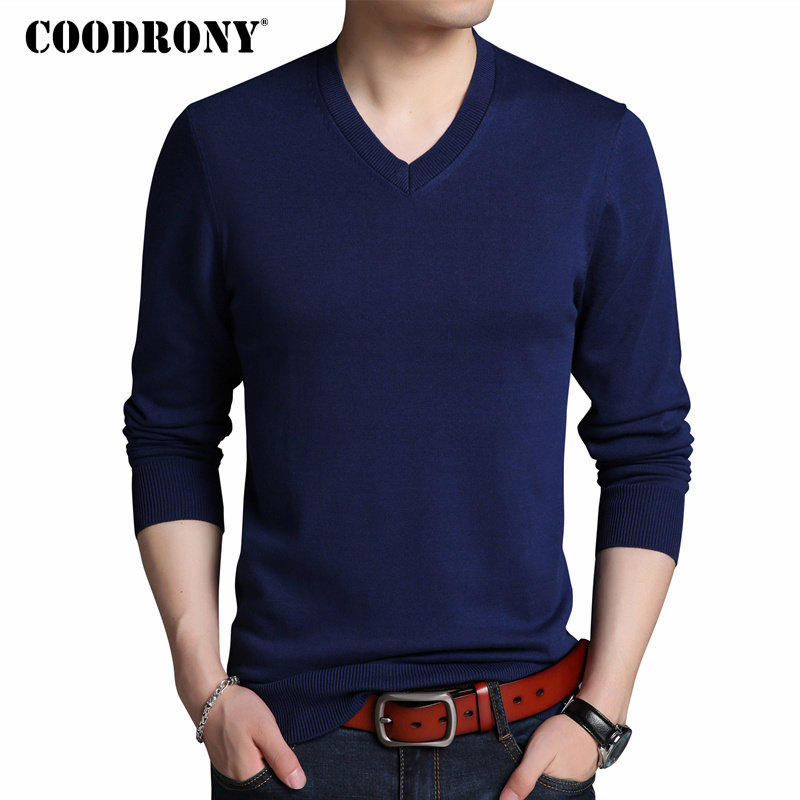 COODRONY Sweater Men Autumn Winter Thick Warm Pullover Men Casual V-Neck Pull Homme Solid Color Mens Knitted Sweaters Jumper 214