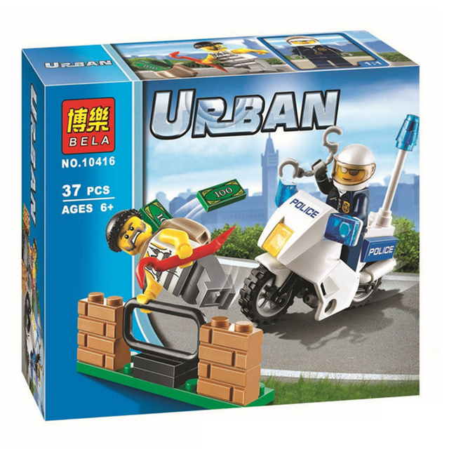 BELA 10416 City police series Tracking the culprits motorcycle Children's  educational figures Building Blocks Toys