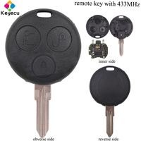 KEYECU Remote Car Key With 2 Infrared Lights 3 Buttons & 433MHz FOB for Benz Smart Fortwo Forfour City Roadster Crossblade
