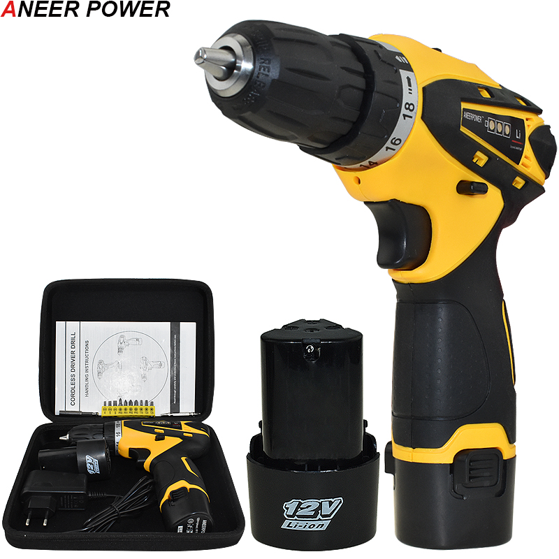 1 5Ah Battery Capacity Drill 12v Mini Cordless Drill Power Tools Electric Screwdriver Electric Drill Batteries
